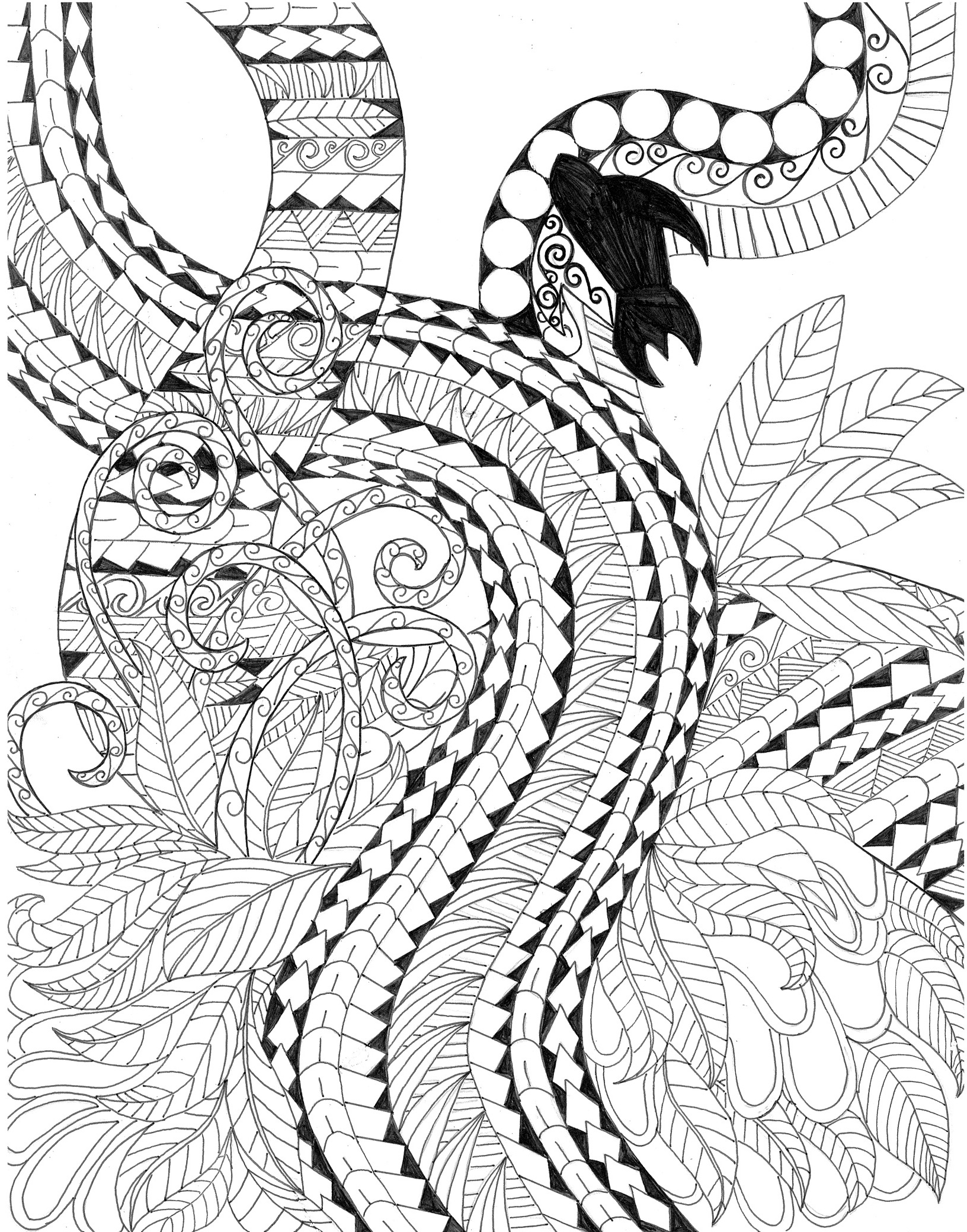 Koru 2 Free New Zealand Coloring Page Inspired By Maori Tattoos